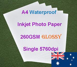 20-X-A4-260GSM-Waterproof-Single-Side-Glossy-RC-Inkjet-Photo-Paper