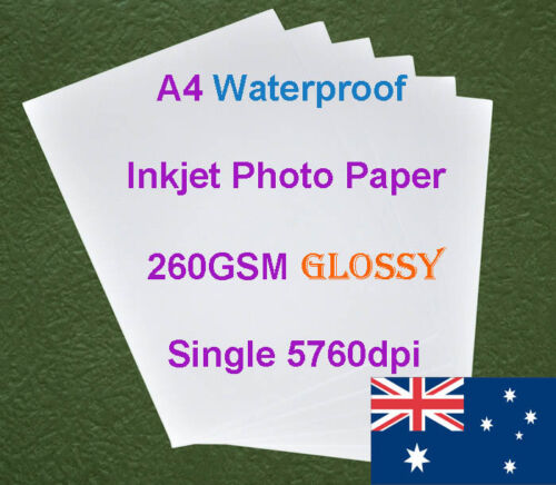 20 X A4 260GSM Waterproof Single Side Glossy RC Inkjet Photo Paper