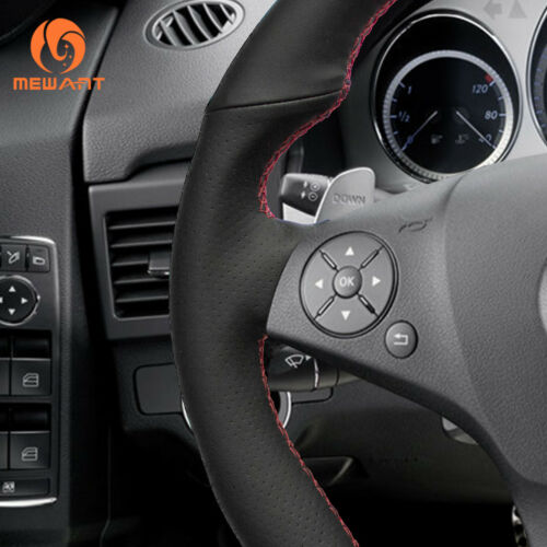 Top PU Black Leather Steering Wheel Cover for Benz SLR SLK-Class AMG GLK-Class