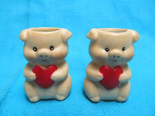 "TWO 1 3/8"" CERAMIC PIGS WITH LOVE HEARTS TOOTHPICK HOLDERS"