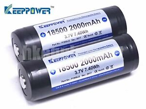 Keeppower-18500-P1850J2-2000mAh-Rechargeable-Japan-Battery-x2