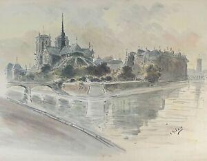 NOTRE DAME DE PARIS. AQUARELLE SUR PAPIER. SIGNÉ A. GUERIN. VERS 1940.