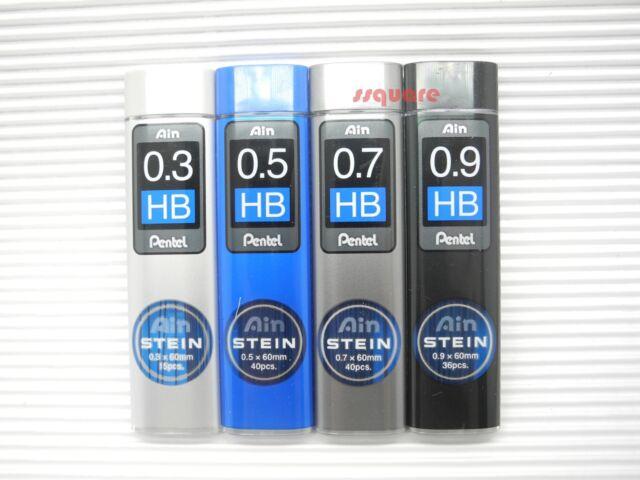 """Pentel /""""Ain STEIN/"""" pencil lead HB 0.9mm x 36pcs x 60mm 10 tubes in a box"""