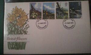"""Set Of 6, """"Spring Flowers"""" 1979 FDC Stamps. Northampton Cancellation."""
