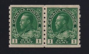 Canada-Sc-125-1912-1c-green-Admiral-Coil-Pair-Mint-VF-NH