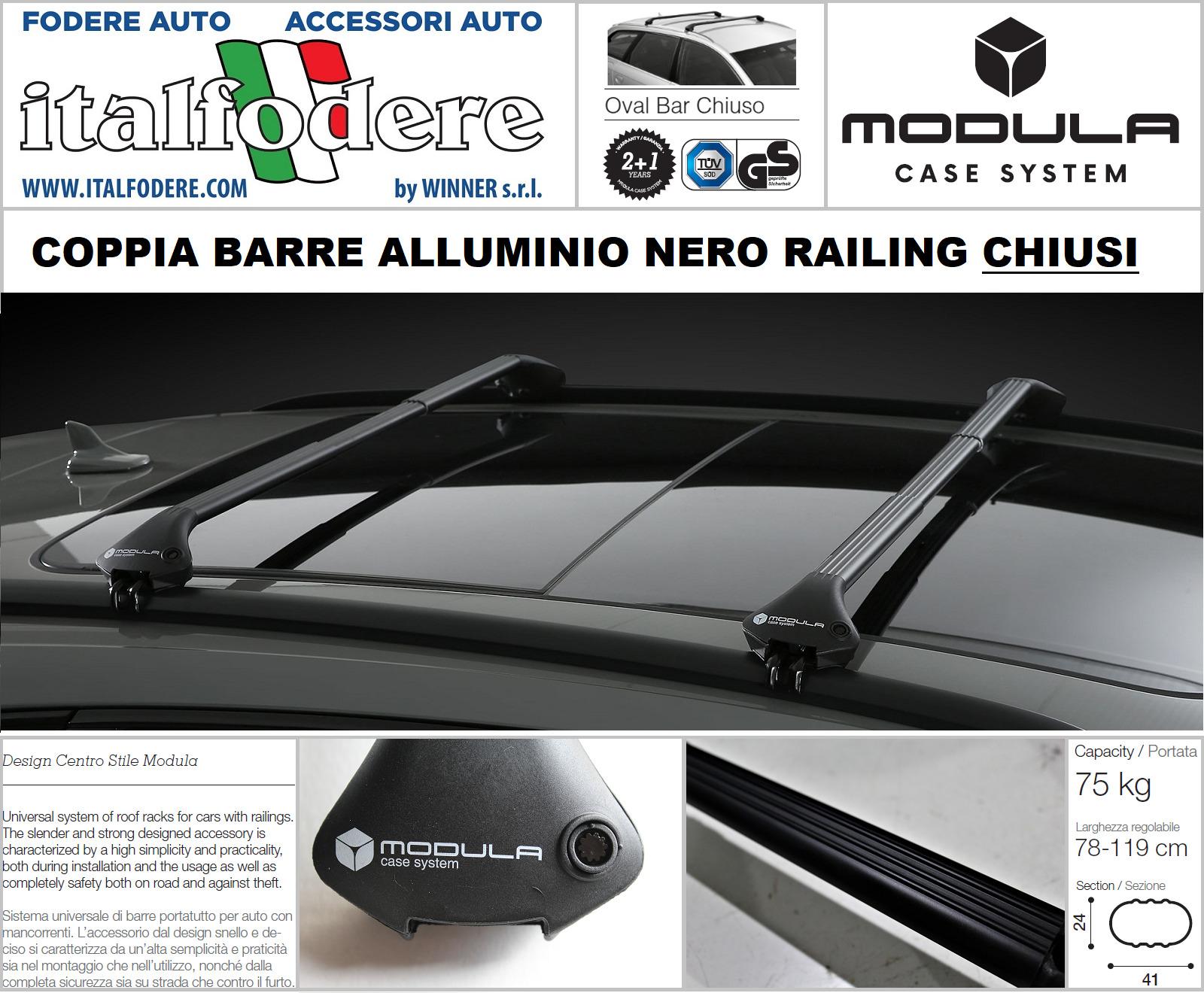 Sportback 04/>12 BARRE PORTATUTTO CORRIMANO MENABO TIGER XL BLACK AUDI A3 8PA