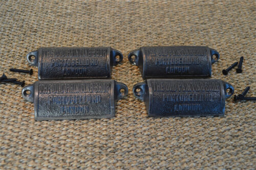 Set of 4 cast iron furniture drawer pull handle printing shop Portobello Rd