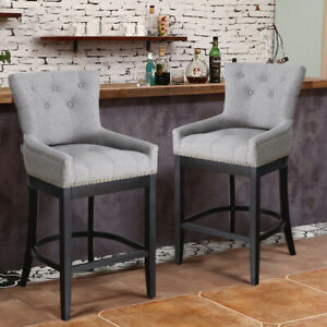 Fabulous Details About Light Grey Fabric Breakfast Bar Stools Kitchen Pub Lounge Chair Seat Wooden Legs Uwap Interior Chair Design Uwaporg