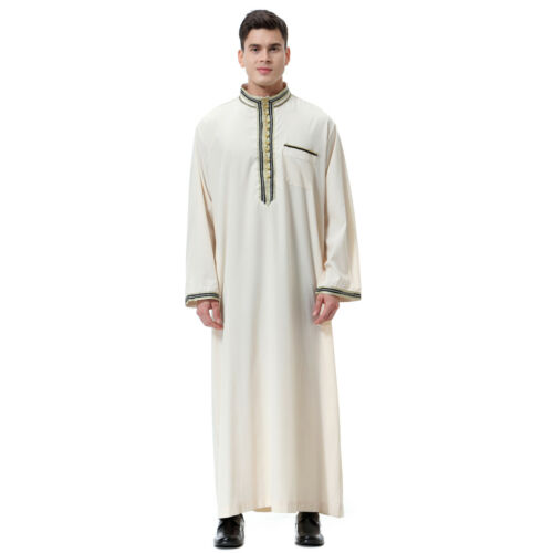 Men/'s Saudi Thobe Robe Muslim Jubba Arabic Kaftan Abaya Dress Islamic Clothing