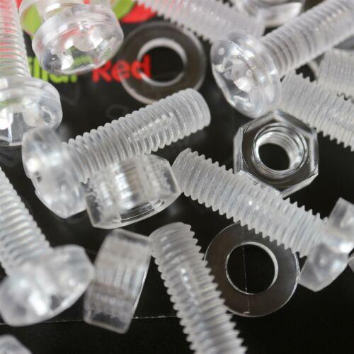 klare M6 x 20mm Acryl Schrauben aus Plastik 20 x durchsichtige Kunststoff