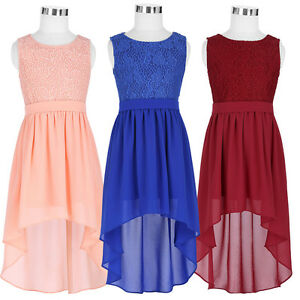 dd7eab98f4e0c Holiday Kids Girls Lace Formal Chiffon High Low Dress Evening Party ...