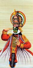 Kathakali dancer kerala original painting 22x45 inch bamboo mat home wall décor