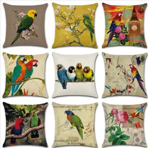 18/'/' Vintage Parrot Bird Summer Sofa Car Pillow Case Cushion Cover Home Decor