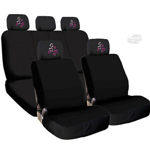 new black cloth car seat covers and red pink hearts headrest covers for chevy ebay. Black Bedroom Furniture Sets. Home Design Ideas