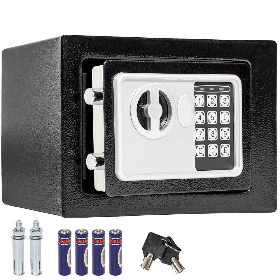 Elektronisk pengeskab 17x23x17cm + nøgle + 4...