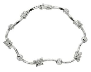 Sterling-Silver-Butterflies-Tennis-Bracelet-w-Faceted-White-Cubic-Zirconia