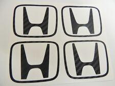 Honda 4 x Kohlefaser H Mittelkappe Sticker Aufkleber Civic EP3 Type r K20 JDM