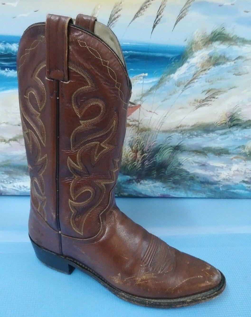 Dan Post Cognac Brown Pelle Cowboy Dance Ride Western Stivali Sz 10B
