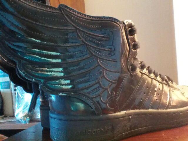 Adidas JS Wings 2.0 Black Patent Leather Jeremy Scott Shoes Sneakers Sz 4 Mens
