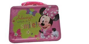 "Disney Minnie Mouse ""Always wear a smile!"" Tin Lunch Box Storage Toys Snack"