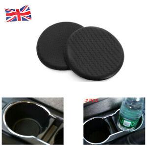 Taza-de-Agua-2x-Automovil-Vehiculo-Almohadilla-ranura-antideslizante-estera-de-fibra-de-carbono