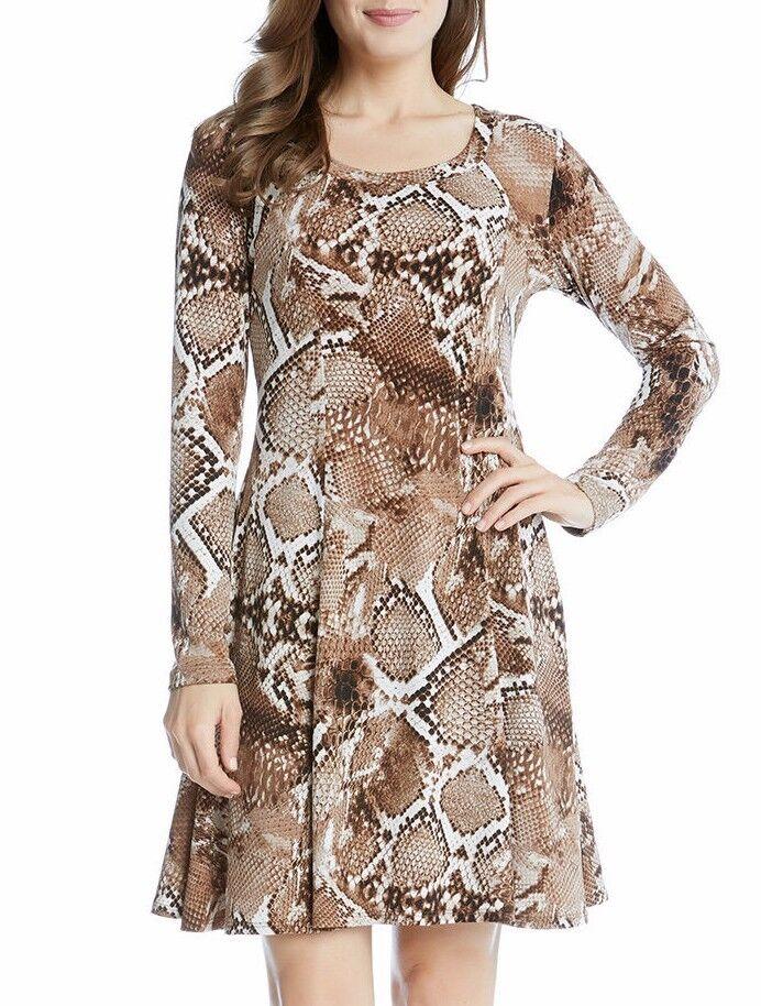 Karen Kane 4L74103 braun Snake Print Stretch Jersey A Line Dress - MSRP