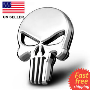 3D-Metal-Punisher-Emblem-Sticker-Skeleton-Skull-Decal-Badge-Car-amp-Truck-SILVER