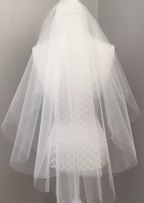 Bianca O Avorio Da Sposa Velo Nuziale Tulle Perle Swarovski Diamante Lunghezza Gomito-mostra Il Titolo Originale