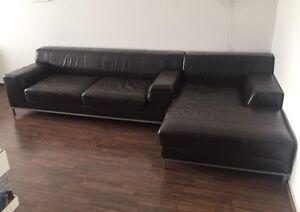 recamiere rechts couch sofa longchair ikea kramfors dunkelbraunes leder ebay. Black Bedroom Furniture Sets. Home Design Ideas