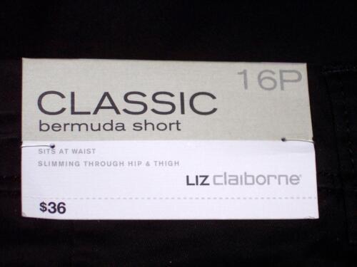 NWT Liz Claiborne Classic Sits At Waist Stretch Bermuda Shorts 10P 16P Black
