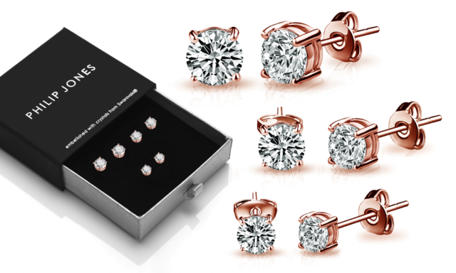 Rose Gold 4mm, 5mm & 6mm Earrings with Crystals from Swarovski®