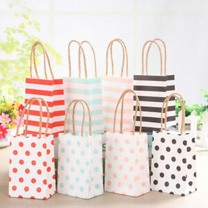 20pc Striped Kraft Paper Gift Bag With Recyclable Twisted
