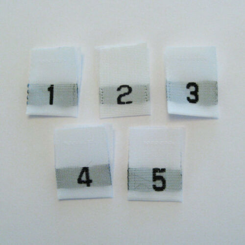 1-2-3-4-5 Mixed Woven Size Labels-Qty 100 Tags tabs child adult baby