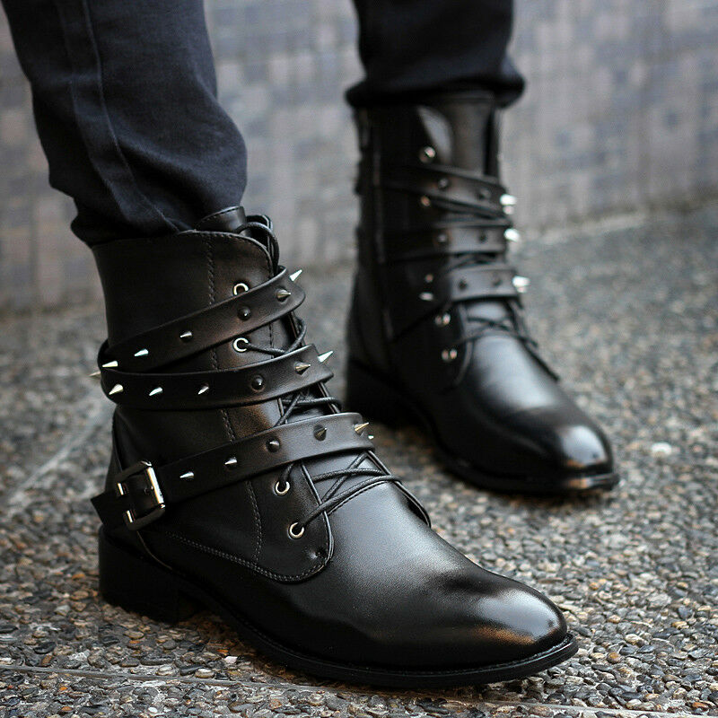 Men Rock and roll Punk Rivet Side Zipper Pointed Toe Fashion Style Boots A851