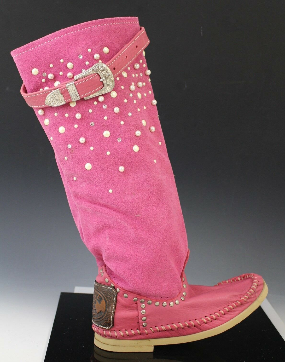 Hector Italian Leather Studded Moccasin Stiefel schuhe SCAMOSCIATO Rosa US 7