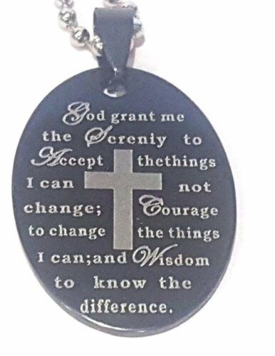 Black Stainless Steel English Serenity Prayer Oval Charm Pendant Necklace 60CM