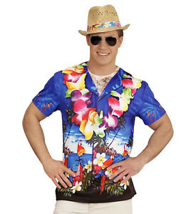 HAWAIIAN FANCY DRESS T SHIRT MAN ADULT 3D PHOTO REALISTIC PRINT