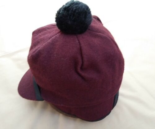 Vintage Scotch Cap with Pom USA NEW Wool Maroon Langenberg Hat Company