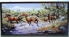Glassmasters Wild Horses Vintage Art Glass Suncatcher Brass Frame