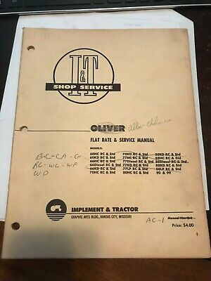 Oliver/&Cockshutt Shop Manual-60HC,60KD,70HC,70KD,80HC,80KD,88HC,90,99 #O-1