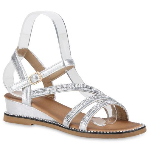 Damen Sandaletten Keilsandaletten Strass Keilabsatz Wedges 830606 Schuhe