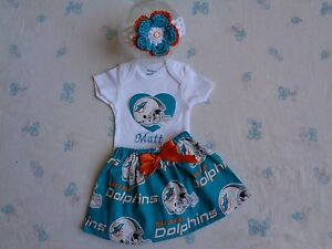 reputable site 5f174 343a0 Details about Miami Dolphins Baby Girl Skirt, Personalized Bodysuit and  Headband.