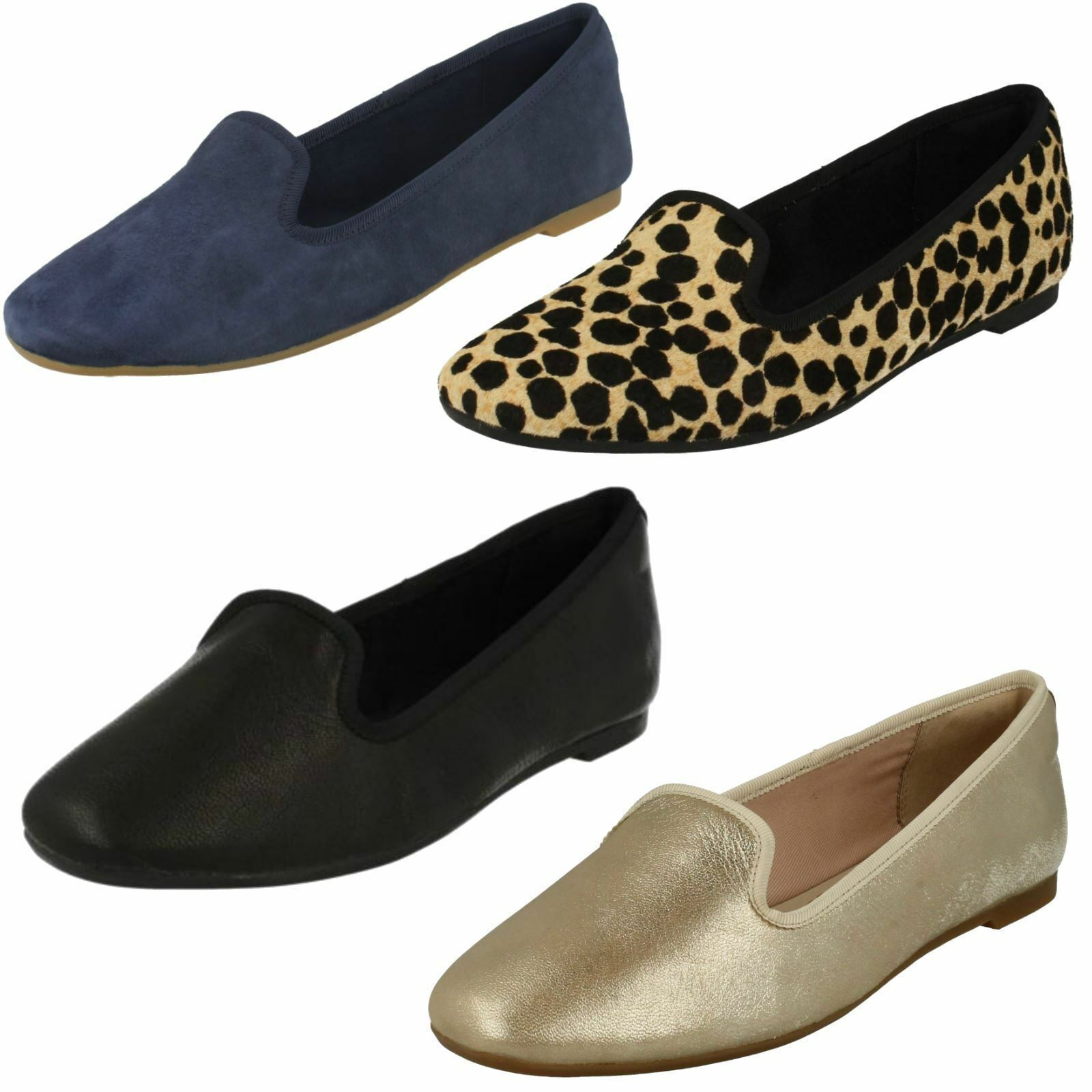 LADIES CLARKS LEATHER PUMPS FLAT SLIP ON CASUAL PUMPS LEATHER LOAFERS SHOES SIZE CHIA MILLY 17ff95