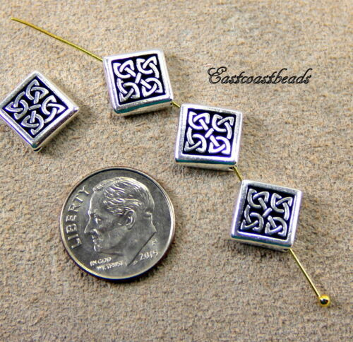 13mm TierraCast Celtic Diamond Beads 2412 4 Pieces Antiqued Silver Plate