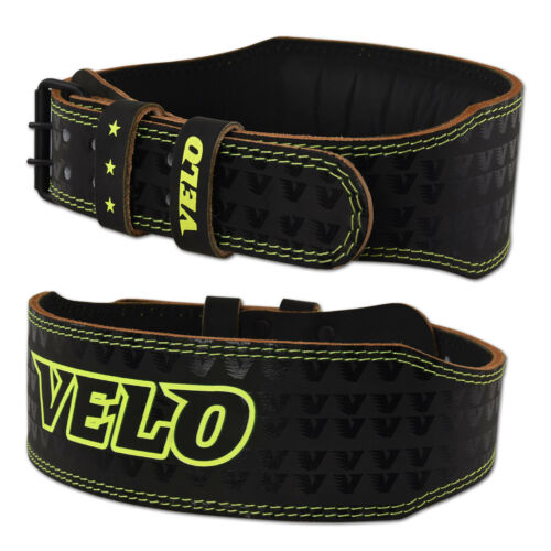 """VELO 4/"""" Leather Belt Weight Lifting Gym Back Support Strap Power Training Strap"""