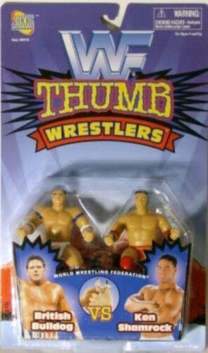 British Bulldog /& Ken Shamrock By Jakks WWF WWE Thumb Wrestlers MOC
