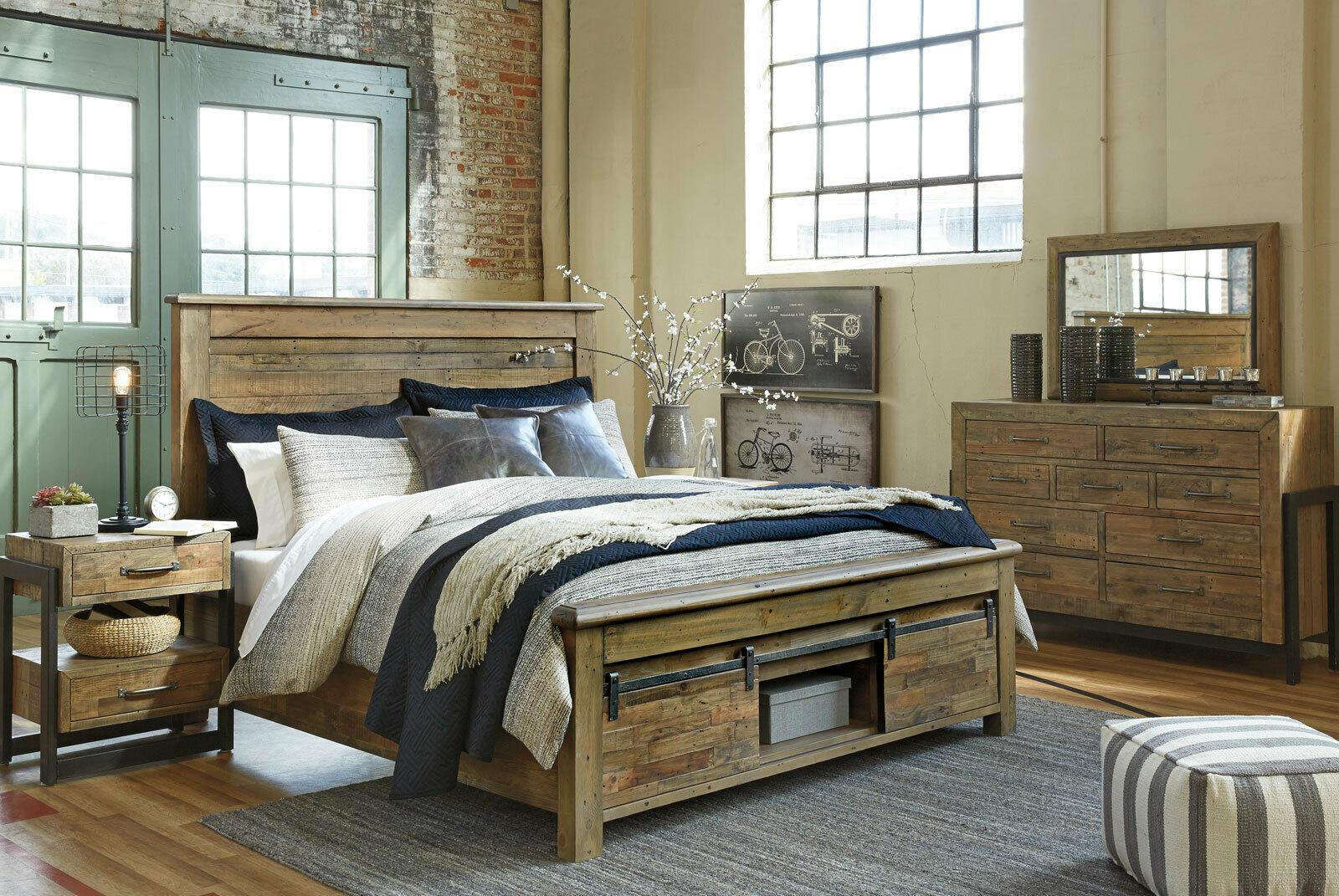 New Modern Brown Pine Finish 5 Piece Bedroom Set W Queen Panel Storage Bed Ia1g For Sale Online