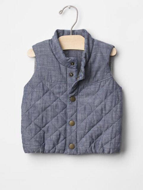 BabyGap Factory Boys Blue Chambray Jersey Lined Romper 18-24 Months