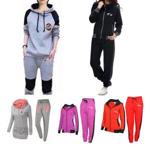 X-2 Bottines Femme Fleece Survêtements Set Femmes À Rayures Gym Jogging Haut à Capuche Jogging Pantalon-afficher Le Titre D'origine