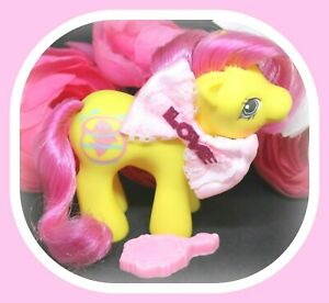 My-Little-Pony-MLP-G1-Vtg-BABY-FLICKER-Drink-039-n-Wet-Fish-Bowl-Yellow-Pink